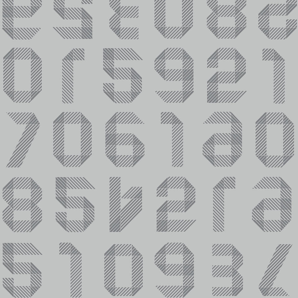 Origami Numbers LIGHT GREY