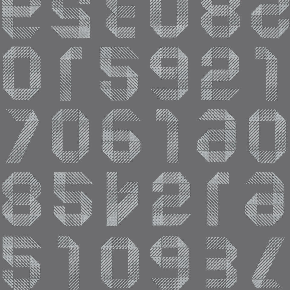 Origami Numbers DARK GREY